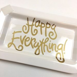 Happy everything platter tray white gold